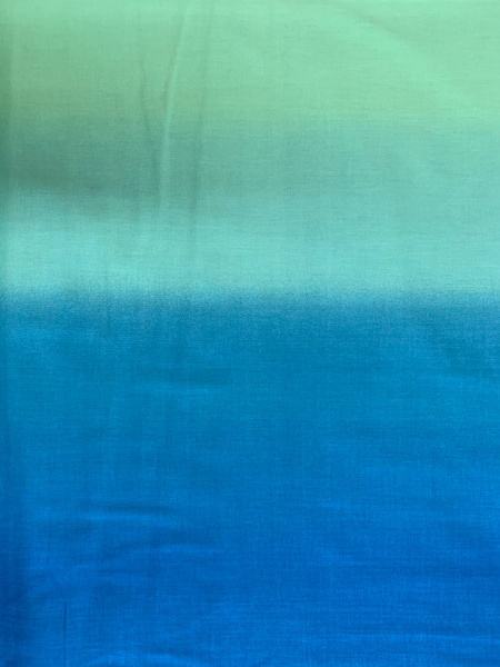 Ombre blue to turquise quilting fabric