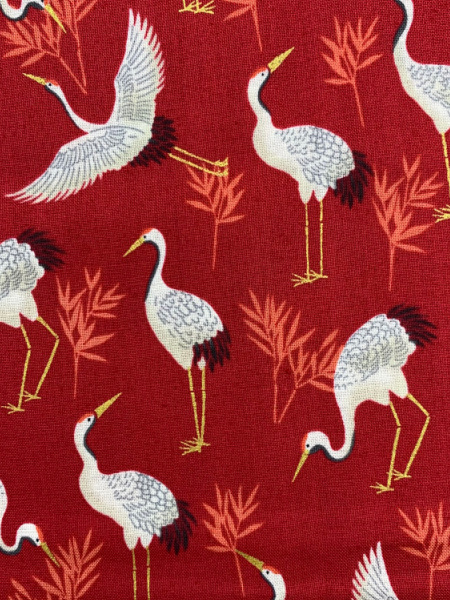 Cranes in red quilting fabric from Makower