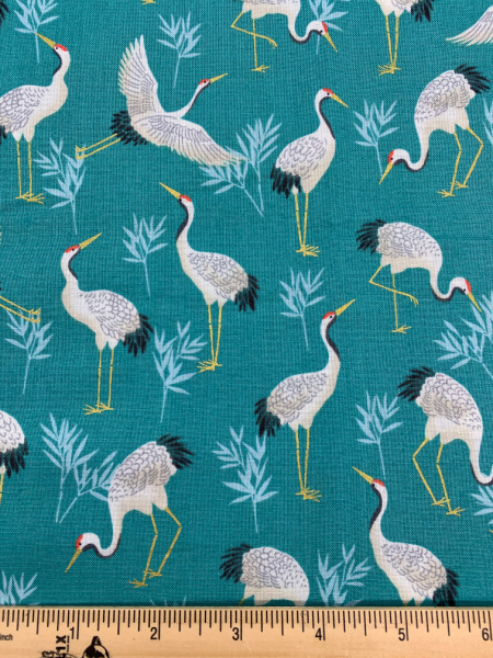 Cranes Turquise quilting fabric from Makower