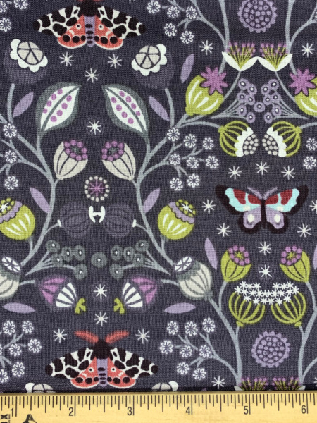 Moths Dark Grey quilting fabric from Lewis and Irene
