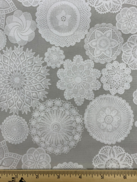 Grey Doily quilting fabric from Riley Blake