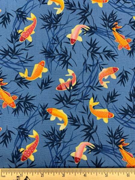 Koi Blue quilting fabric from Makower