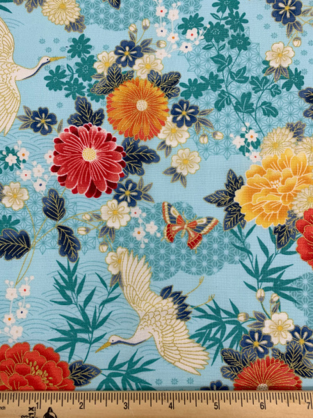 Large Floral Turquise quilting fabric from Makower