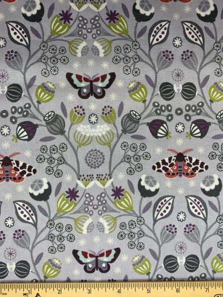 Pale Grey Moths quilting fabric from Lewis and Irene