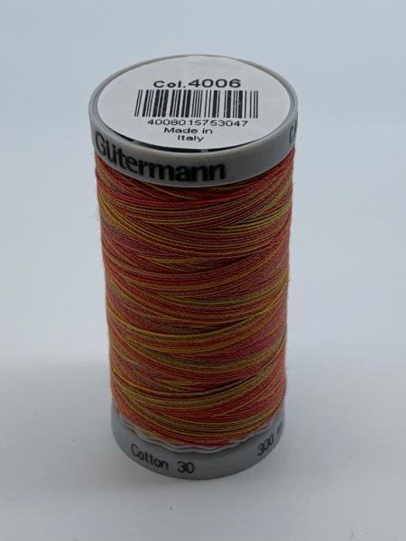 Gutermann Quilting Cotton Thread 4006 Deep Orange, Yellow, Green