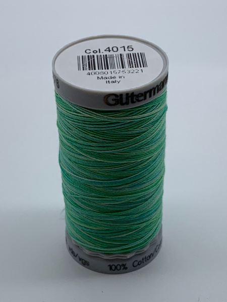 Gutermann Quilting Cotton Thread Variegated 4015 Bright Greens