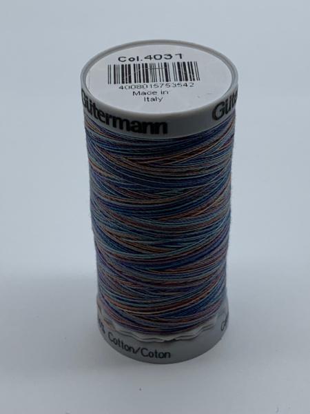 Gutermann Quilting Cotton Thread Variegated 4031 Blues and Peach