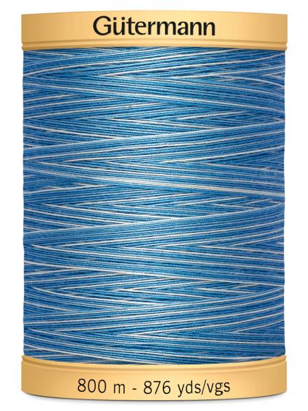 Gutermann Cotton Variegated Thread 9981 Light Blue/Mid Blue