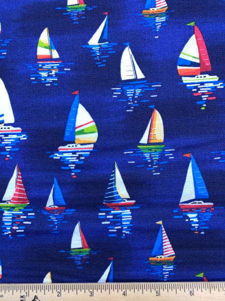 Sail Boats on Water Quilting Fabric from Beside The Sea by Makower