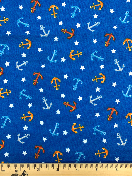 Anchors on Blue Quilting Fabric from Beside The Sea by Makower