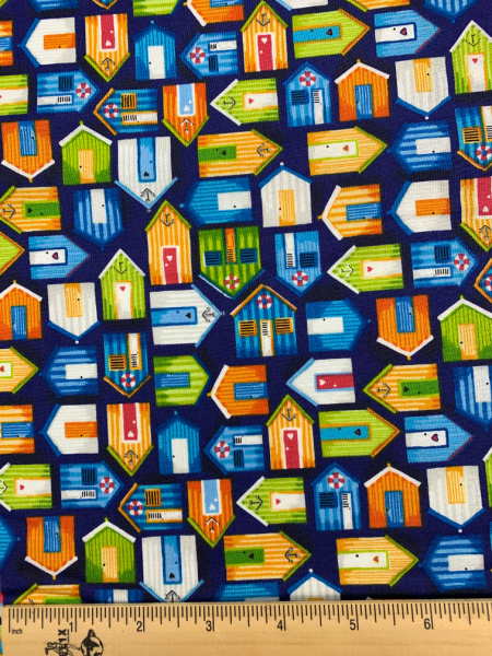 Beach Huts Blue quilting fabricfrom Beside The Sea by Makower
