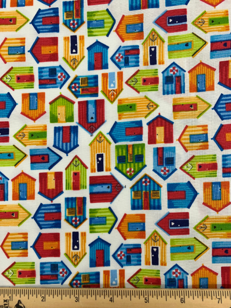Beach Huts White quilting fabric from Beside The Sea by Makower