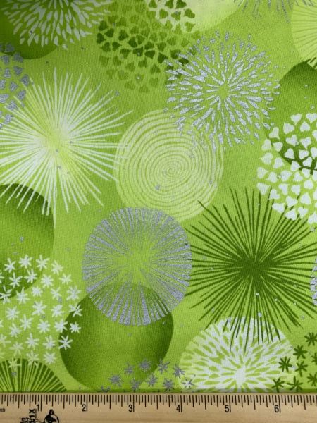 Bonbon in Lime from Shiny Objects Sweet Somethings by Florie and Finch for RJR Fabrics
