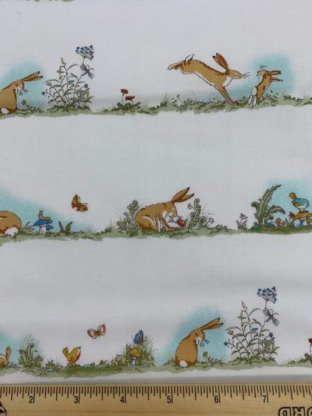 Nut Brown Hare in Rows on White Quilting Fabric by Sam McBratney from Guess How Much I Love You for Clothworks