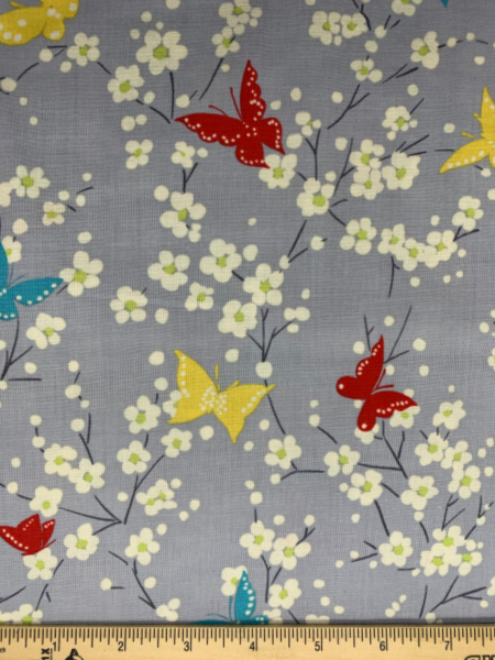 Butterfly Blossoms in Grey from Sea Holly by Sarah Campbell for Michael Miller