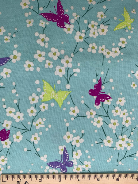 Butterfly Blossoms in Aqua Quilting Fabric from Sea Holly by Sarah Campbell for Michael Miller