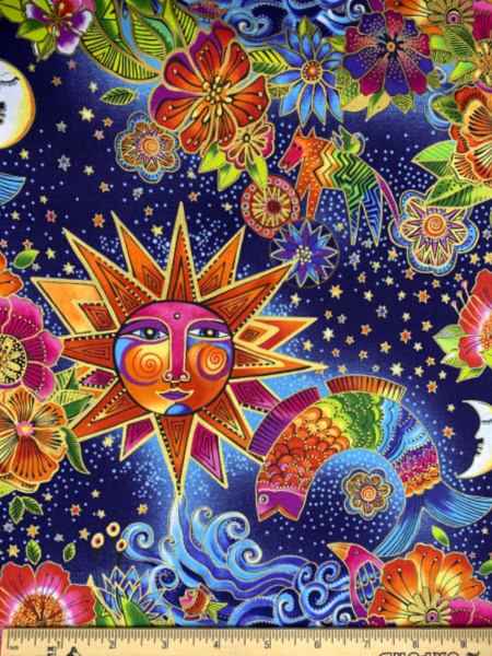 Celestial Magic Toile Quilting Fabric by Laurel Burch for Clothworks