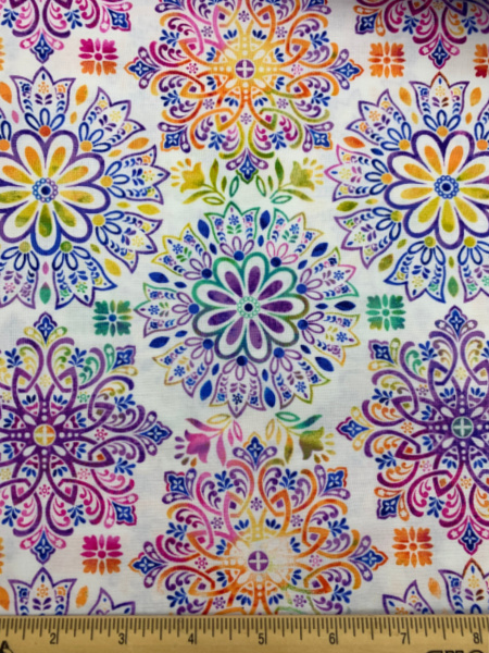 Medallions White Quilting Fabric by Color Principle for Henry Glass