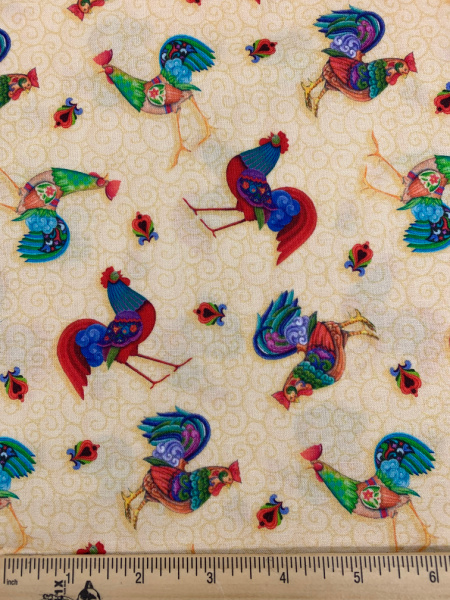Roosters on Yellow Quilting Fabric by Jim Shore from Awaken The Day for Benartex