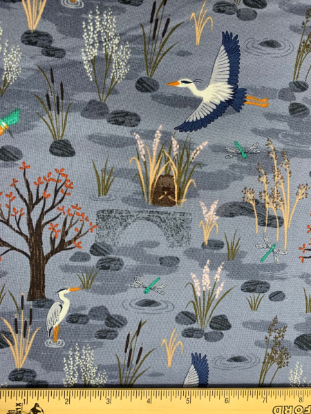 Down By The River in Blue from Water Meadow Quilting Fabric by Lewis and Irene