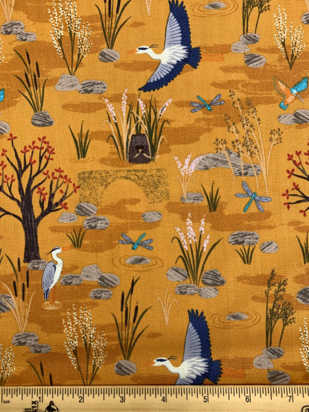 Down By The River in Ochre from Water Meadow Quilting Fabric by Lewis and Irene