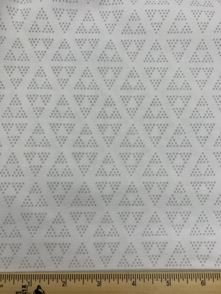 Cross Stitch on White Quilting Fabric by Deane Christiansen from Shades of Grey for Sweet Bee Designs