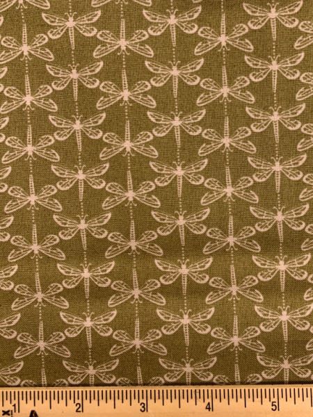 Green Dragonfly from Water Meadow Quilting Fabric by Lewis and Irene