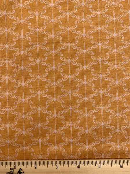 Dragonfly in Ochre from Water Meadow Quilting Fabric by Lewis and Irene