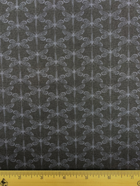 Dragonfly in Black from Water Meadow Quilting Fabric by Lewis and Irene