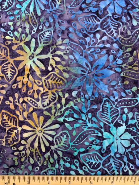 Exotic Floral Batik in Blue Quilting Fabric