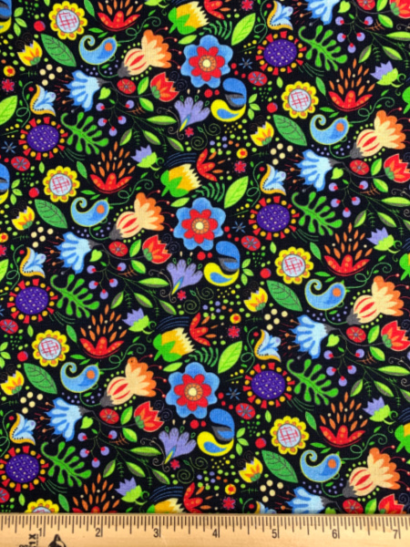 Floral on Black Quilting Fabric by Jim Shore from Awaken The Day for Benartex
