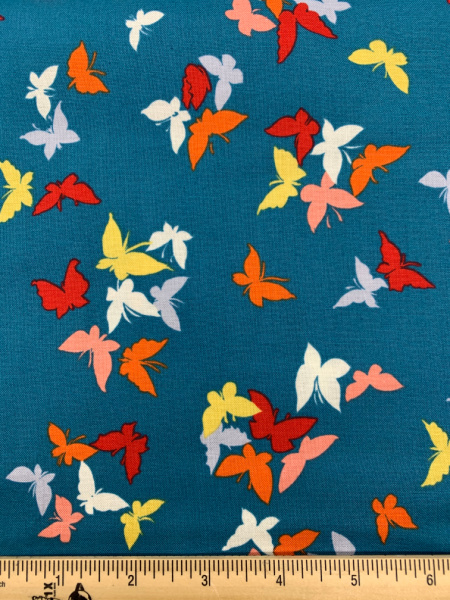 Flutter-By Clouds in Teal from Sea Holly by Sarah Campbell for Michael Miller