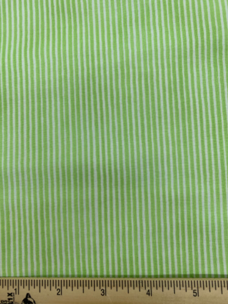 Stripe in Green and White Quilting Fabric by Sam McBratney from Guess How Much I Love You for Clothworks