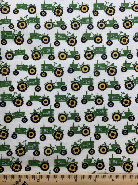 Green Tractor Quilting fabric from Quilter Barn Prints for Benartex