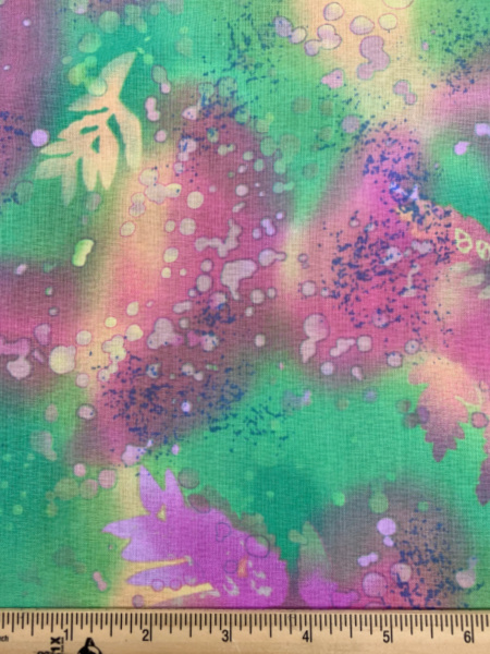 Green and Pink Fossil Fern Quilting Fabric by Patricia Campbell and Michelle Lack for Benartex Fabrics