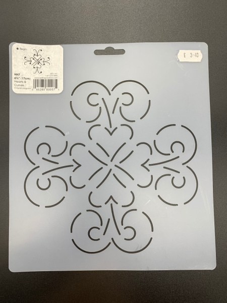 Hearts and Curves HH7 17cm (6.75 inches) square Quilting Stencil