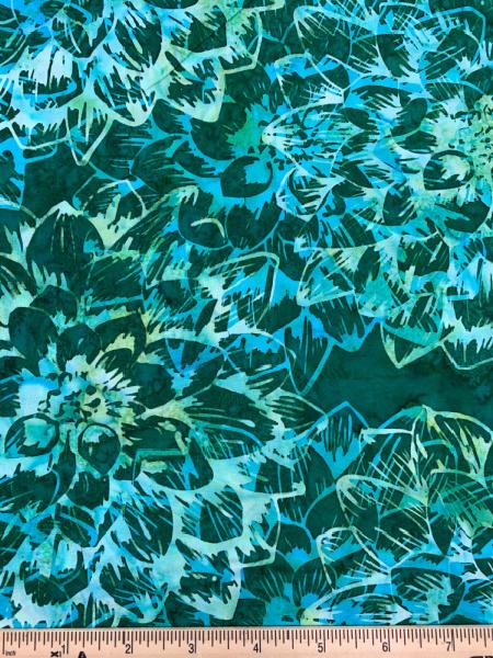 Chrysanthemum Flower in Emerald Quilting Fabric Batik by Hoffman