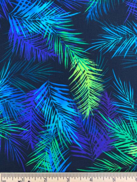 Island Palm Leaves Black quilting fabric by Greta Lynn for Benartex