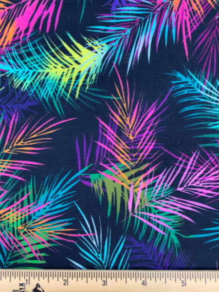 Island Palm Leaves Charcoal quilting fabric from Tropical Breeze by Greta Lynn for Benartex