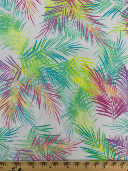 Island Palm Leaves white quilting fabric by Greta lynn from Benartex