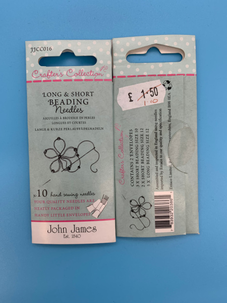 JJCC016 Long and Short Beading Needles from John James