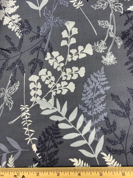 Midnight Fern Grey from Midnight Pearl quilting fabric