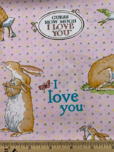 Main Guess How Much i Love You Pink Cotton Quilting Fabric By Sam McBratney From Guess How Much I Love You For Clothworks