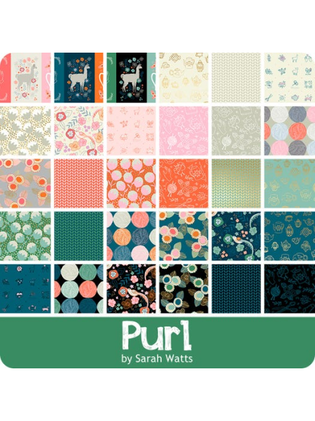 All the fabrics in Purl by Sarah Watts for the Ruby Star Society Jelly Roll two and a half inch fabric strips