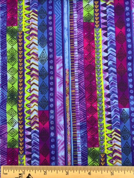 Celestial Magic Dark Blue Stripe Quilting Fabric by Laurel Burch for Clothworks