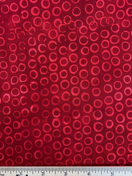 Red Circles Batik Quilting Fabric from Island Batik