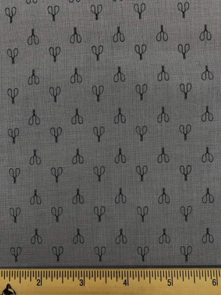 Vintage Scissors Grey Quilting Fabric by Deane Christiansen from Shades of Grey for Sweet Bee Designs