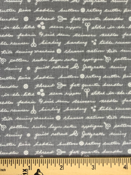 Mom's Handwriting on Grey Quilting Fabric by Deane Christiansen from Shades of Grey for Sweet Bee Designs