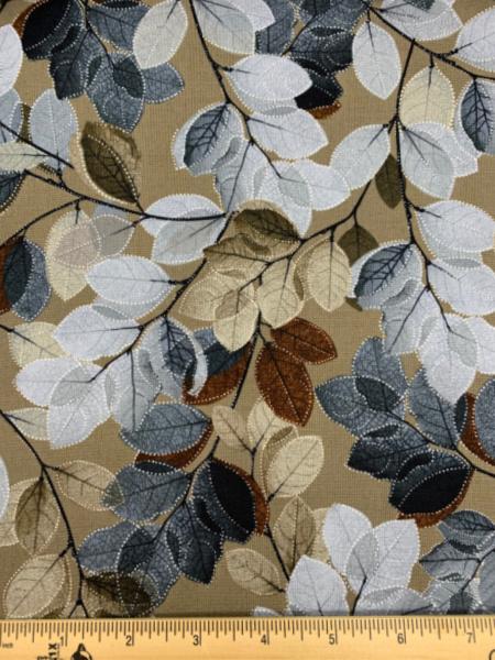 Sheer Leaves brown from Essence of Pearl by Benartex