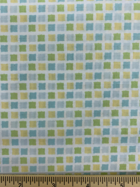 Squares Turquise, Yellow and Green Quilting Fabric by Sam McBratney from Guess How Much I Love You for Clothworks